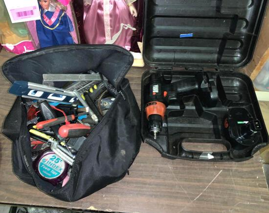 B&D Drill and Tool Bag with Contents