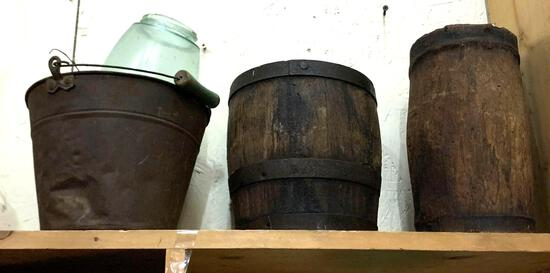 3 Vintage Items- Wood Barrel, Pail etc