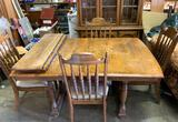 Dining Room Table with 4 Chairs and 2 Leaves