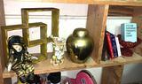 Knick Knack Lot- Vase from Occupied Japan, Brass Urn, shelf etc