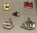 5 Sterling Silver Charms - 3 are boats