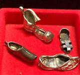 4 Sterling Silver Shoe Charms
