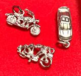 2 Sterling Silver Motorcycle Charms and 1 Sterling Silver Car Charm