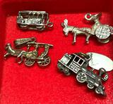 4 Sterling Silver Charms - 2 are Trains, 2 are horse Carriages