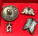 4 Sterling Silver Mexican Themed Charms