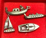 4 Sterling Silver Boat Charms