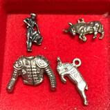 4 Sterling Silver Bull Fighter Charms