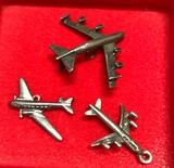 3 Sterling Silver Air Plane Charms
