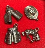 4 Sterling Silver Cowboy Charms