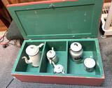 Vintage Wood Cabinet with Enamel Tea Pots