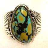 Spiderweb Turquoise feather ring size 9
