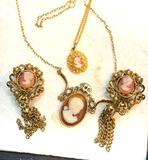 Vintage Cameo set- 2 Necklaces and 1 set of earrings