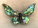 Carved Tibetan Abalone Shell Butterfly Pendant or pin