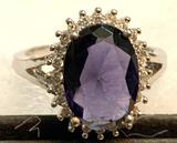 5ct Oval cut Sapphire and CZ Ring Size 9