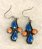 Turquoise and Coral Hook Dangle Earrings