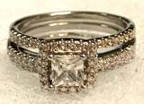 Princess Cut White Topaz CZ Ring Size 9