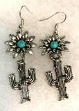 Turquoise Dangle Hook Boho Earrings