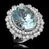 14K Gold 12.78ct Aquamarine & 2.05ct Diamond Ring