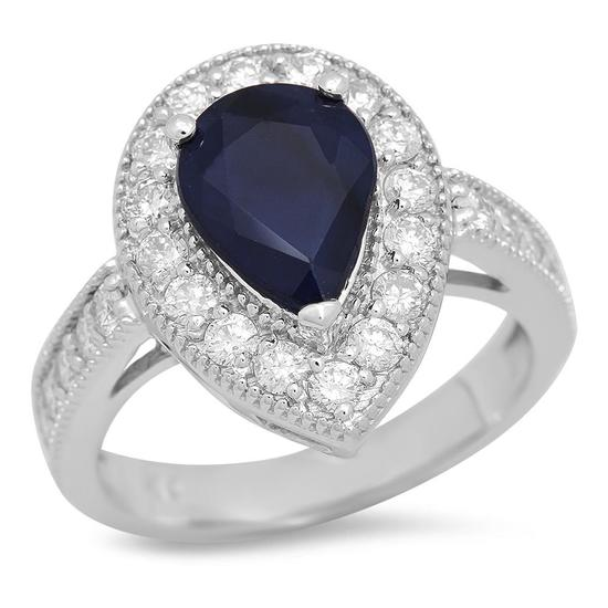 14K Gold 2.17ct Sapphire 1.05cts Diamond Ring