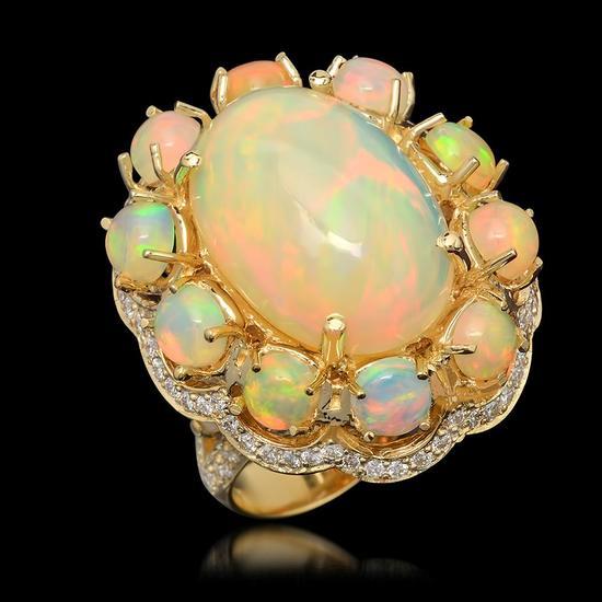 14k Yellow Gold 22.74ct Opal 1.46ct Diamond Ring