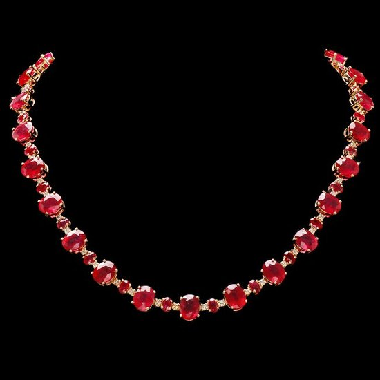 14k Gold 66.5ct Ruby 2.00ct Diamond Necklace