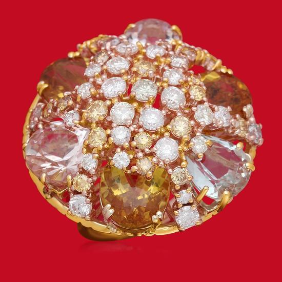 14K Gold 16.55ct Aquamarine, Morganite, Yellow Beryl 3.65ct Diamond Ring