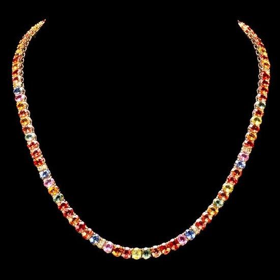 14k Gold 42.00ct Sapphire 1.00ct Diamond Necklace