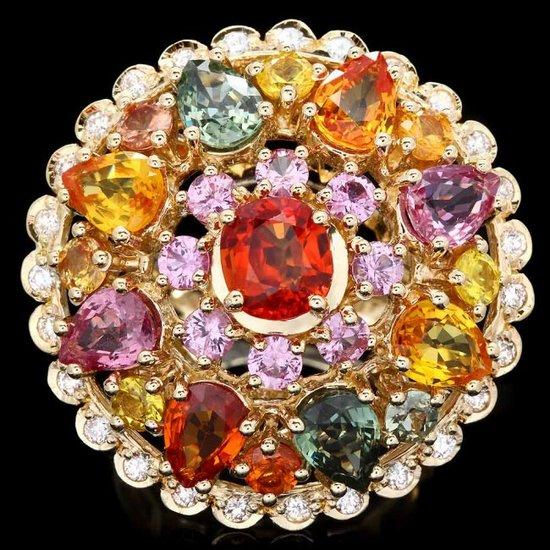 14k Gold 11.5ct Sapphire 0.75ct Diamond Ring