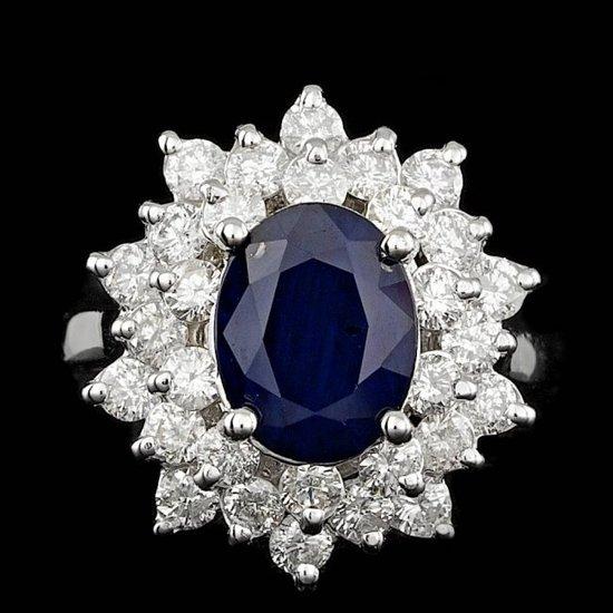 14k Gold 3.30ct Sapphire 1.74ct Diamond Ring
