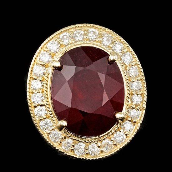 14k Yellow Gold 10.50ct Ruby 0.90ct Diamond Ring
