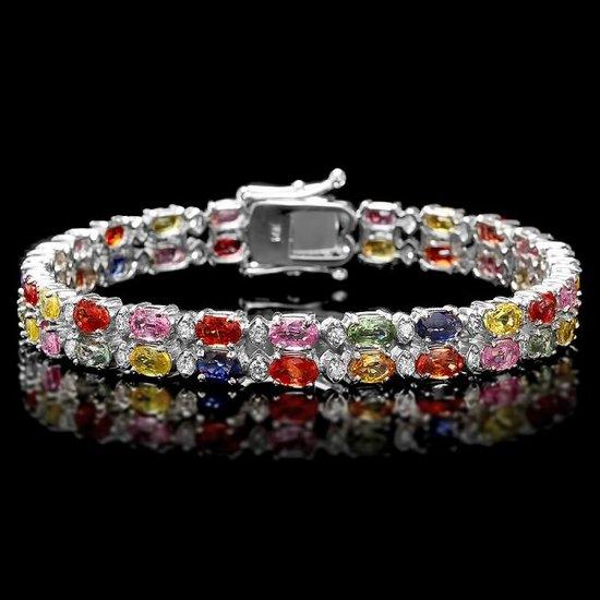 14k Gold 15.00ct Sapphire 1.10ct Diamond Bracelet