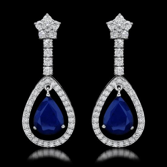 14k White Gold 6.50ct Sapphire 2.75ct Diamond Earrings