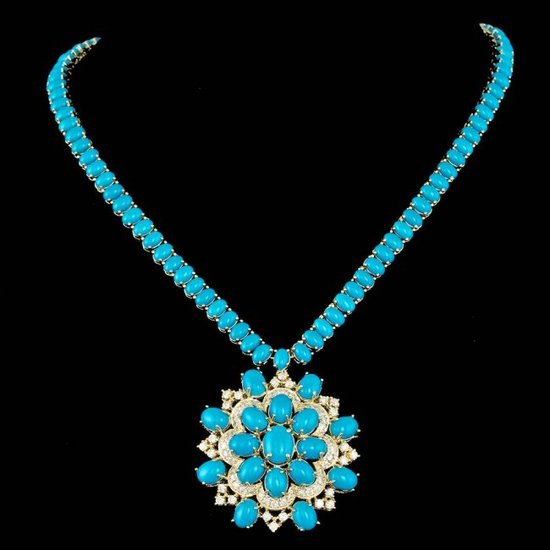 14k 64.00ct Turquoise 3.00ct Diamond Necklace