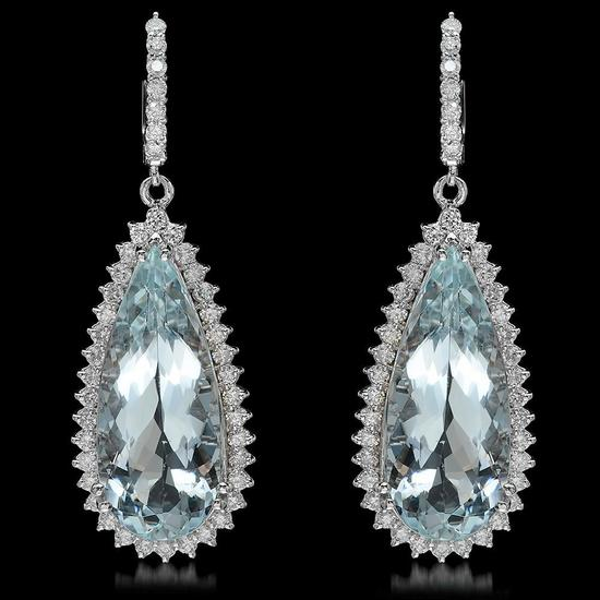 14K Gold 28.67ct Aquamarine 2.41ct Diamond Earrings