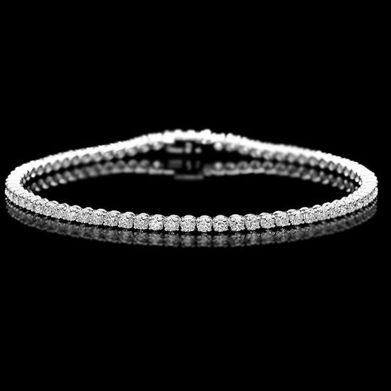 18k White Gold 3.00ct Diamond Bracelet