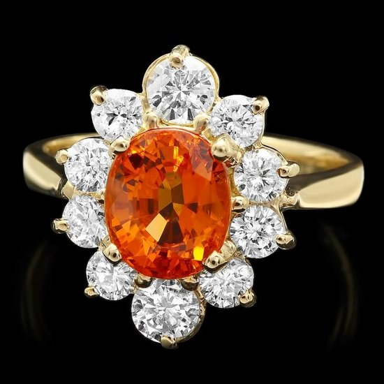 14k Yellow Gold 3.00ct Garnet 1.10ct Diamond Ring