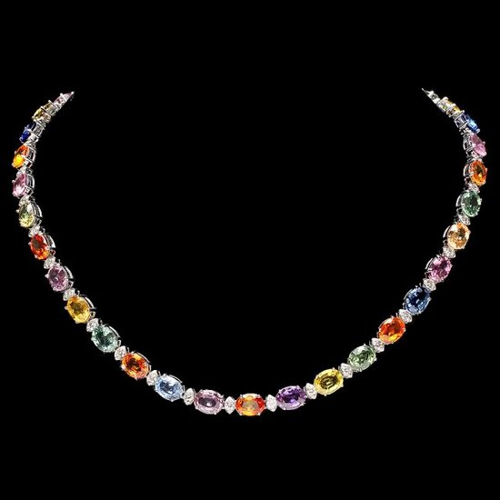 14k Gold 57.00ct Sapphire 2.50ct Diamond Necklace