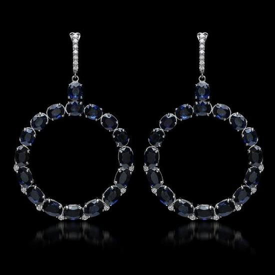 14K Gold 30.46ct Sapphire 0.52ct Diamond Earrings