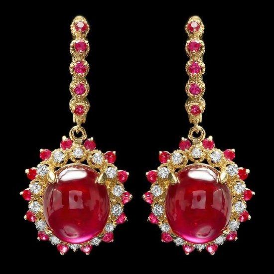 14k Gold 24.5ct Ruby 0.70ct Diamond Earrings