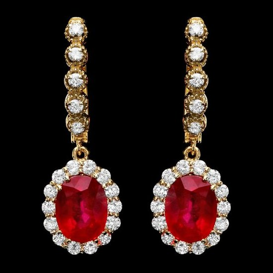 14k Gold 8.00ct Ruby 1.35ct Diamond Earrings