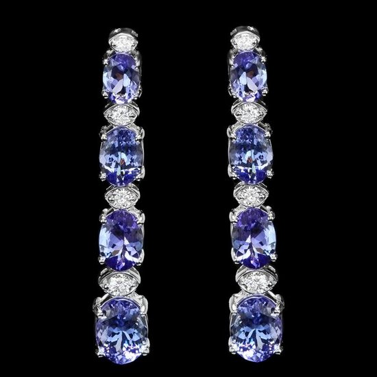 14k Gold 6.00ct Tanzanite 0.45ct Diamond Earrings