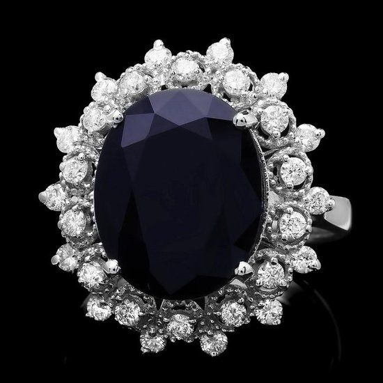 14k Gold 8.60ct Sapphire 0.73ct Diamond Ring