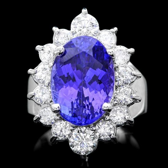 14k Gold 8.50ct Tanzanite 2.00ct Diamond Ring