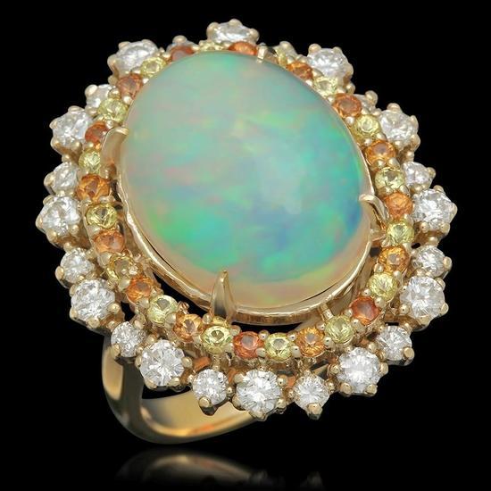 14K Gold 10.00ct Opal 0.80ct Sapphire 1.00ct Diamond Ring