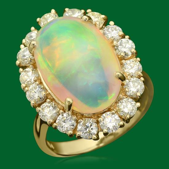 14k Gold 6.79ct Opal 2.00ct Diamond Ring