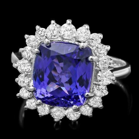 14k Gold 5.00ct Tanzanite 0.85ct Diamond Ring
