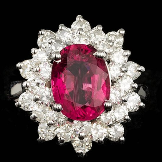 14k Gold 3.00ct Tourmaline 2.20ct Diamond Ring