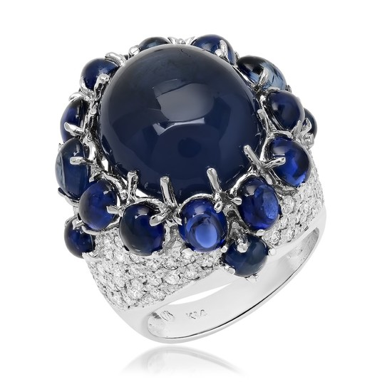 14K White Gold, 18.00.cts Sapphire, 2.25cts Diamond Ring