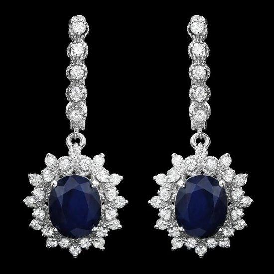 14k Gold 6.0ct Sapphire 1.60ct Diamond Earrings