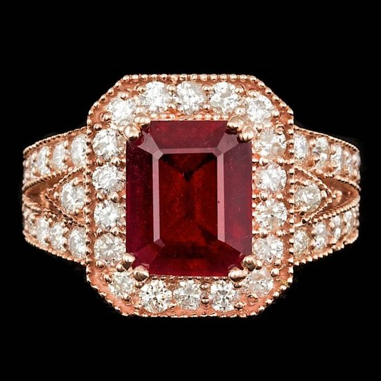 14k Rose Gold 5.00ct Ruby 1.50ct Diamond Ring